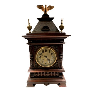 19th Century German Bracket Clock With Haus Style Detailing by Lenzkirch For Sale