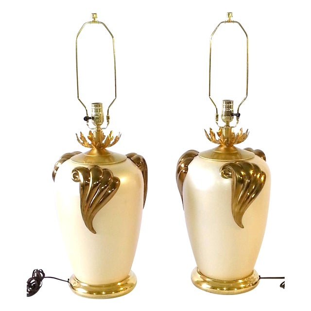 Mid-Century Hand Painted Cast Metal Table Lamps For Sale - Image 9 of 9