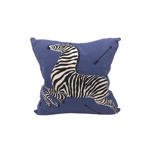 Transitional Zebra Pillow, Denim For Sale - Image 3 of 3