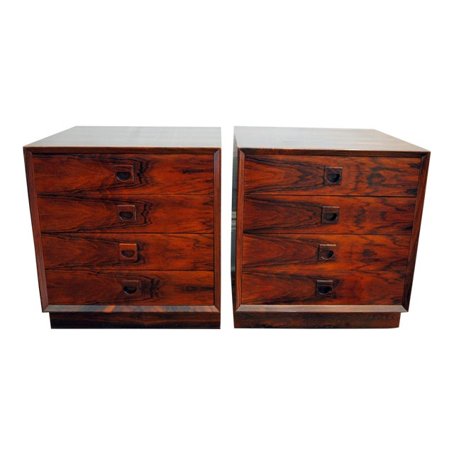 Danish Brazilian Rosewood 4 Drawer Nightstands- A Pair For Sale