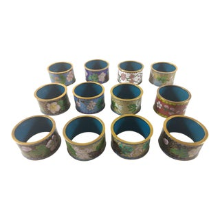 Vintage Chinese Cloisonne Napkin Rings - Set of 12 For Sale