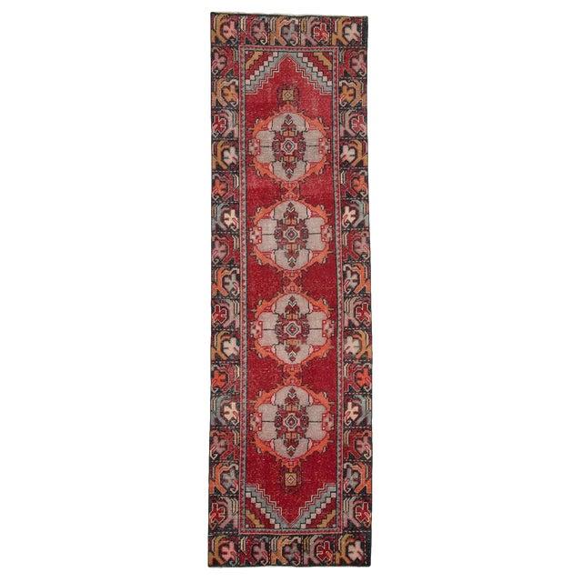 Vintage Red Turkish Runner-2′10″ × 9′5″ For Sale