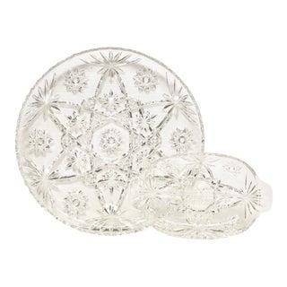 Glass Starburst Platter & Divided Dish For Sale