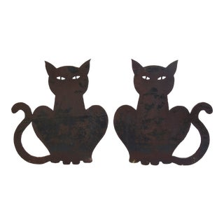 Midcentury Folk Art Hand-Forged Iron Cat Fireplace Andirons For Sale
