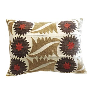 Vintage Embroidered Samarkand Accent Pillow For Sale