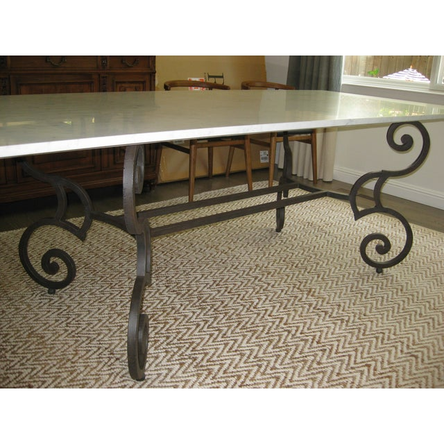 Honed Carrara Marble & Iron Dining Table - Image 3 of 5