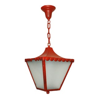 1900s Regency Style Red Pendant Light For Sale