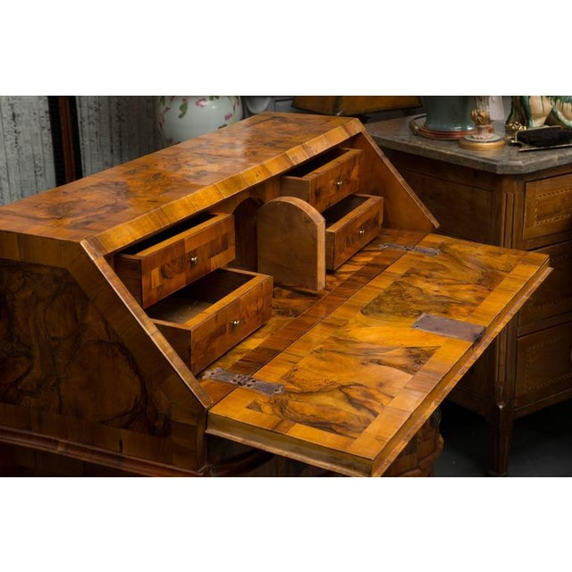 19th Century Italian Rococo Burl Walnut Slant Front Desk For Sale - Image 4 of 8