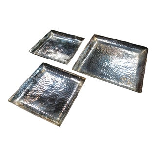 1970s Mid-Century Modern Handcrafted Hammered Silver Plates - Set of 3