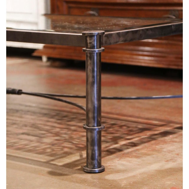 Mid 19th Century Iron Coffee Table Made With 19th Century French Gate Balcony With Glass Top For Sale - Image 5 of 13