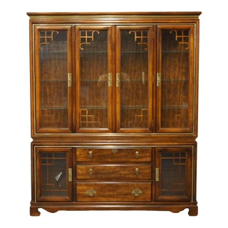 """Chinoiserie Bassett Furniture 66"""" Display Cabinet For Sale"""