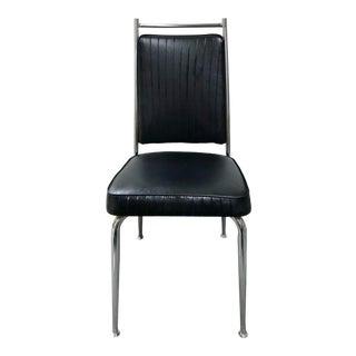 Vintage Ribbed Black & Chrome Daystrom Chair