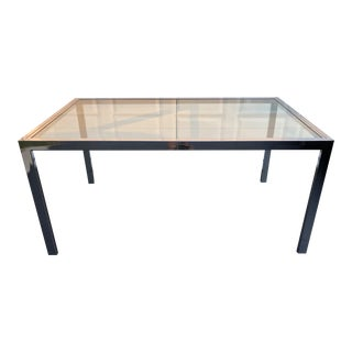 1970s Vintage Chrome & Glass Expandable Dining Table For Sale