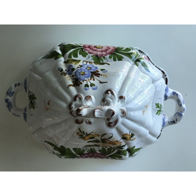 Beautiful Italian porcelain soup tureen with lid and tray. A petite size perfect for dinner for two or for displaying on a...
