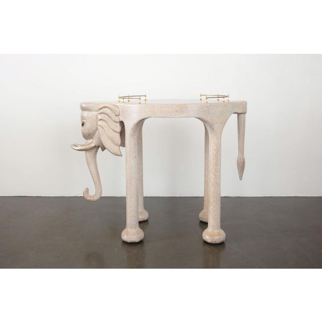 Marge Carson Elephant Bar Rolling Table For Sale - Image 9 of 9