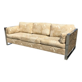 1970s Vintage Adrian Pearsall Cork and Chrome Sofa For Sale