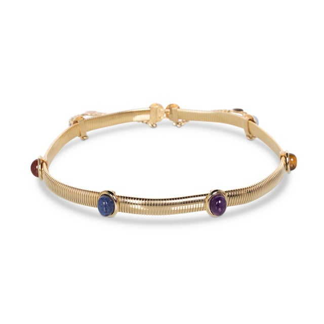1990s 1990s Judith Leiber Gold Semi-Precious Stones Chain Belt For Sale - Image 5 of 7