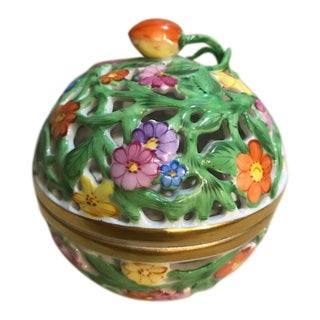 Herend Floral Pierced Porcelain Lidded Cache Pot