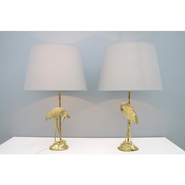 Pair of Crane Brass Table Lamps 1970s For Sale - Image 10 of 10