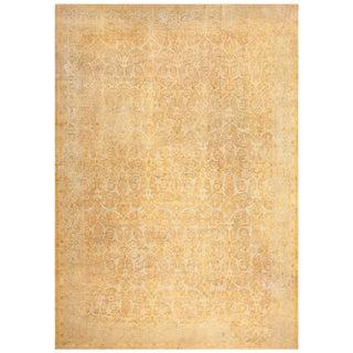 Large Antique Tabriz Persian Gold Background Rug - 12′6″ × 18′6″ For Sale