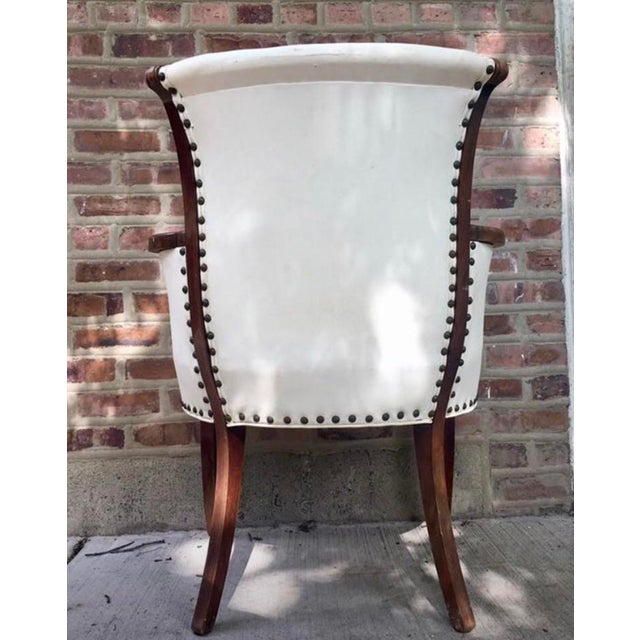 Vintage White Leather Chair Studded white leather beauty.