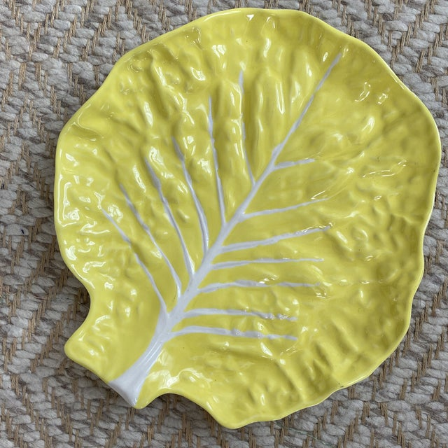 Vintage Portuguese Yellow Cabbage Platter For Sale - Image 11 of 11