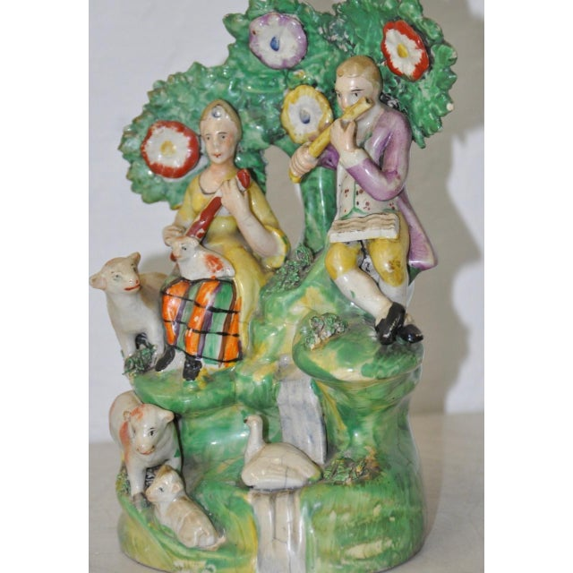 Figurative Early Staffordshire Figural Group Musicians With Sheep, 18th C. For Sale - Image 3 of 9