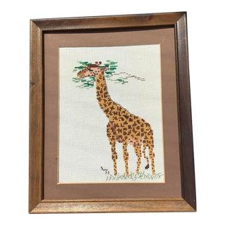 Vintage Handcrafted Framed Giraffe Needlepoint For Sale