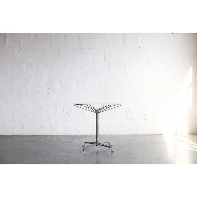 Mid Century Modern Glass and Steel Outdoor Table For Sale - Image 4 of 4