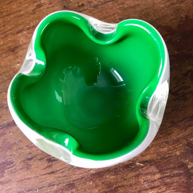 Glass Mid Century Murano Cased Glass Hotel Advertising Ashtrays- a Pair For Sale - Image 7 of 9
