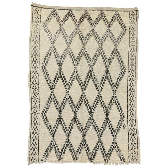 20th Century Moroccan Berber Beni Ourain Diamond Patterned Rug For Sale - Image 10 of 10