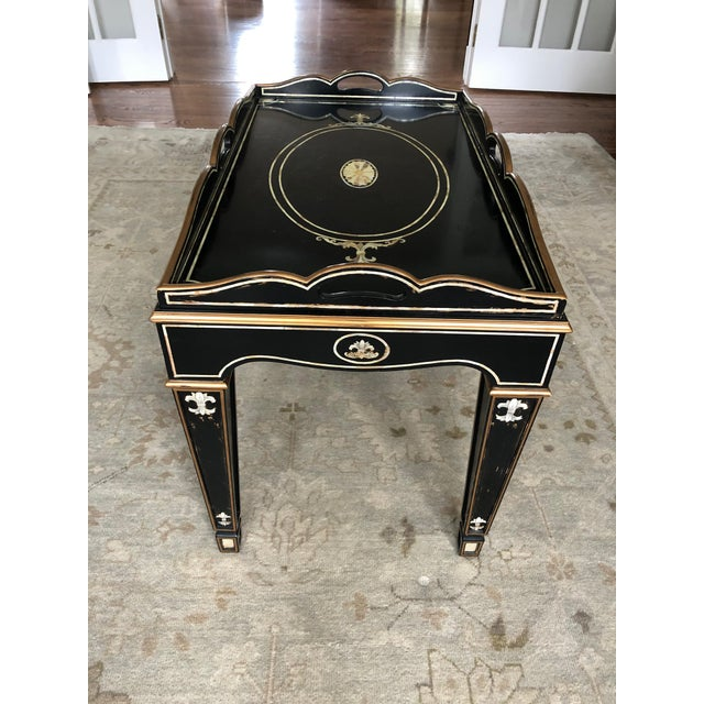 Gem of a Hollywood Regency Black Tray Coffee Table For Sale - Image 11 of 13