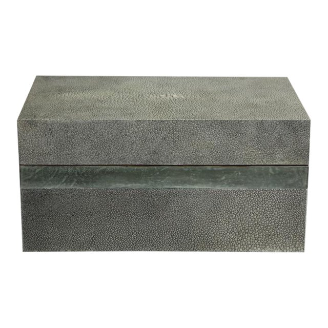 Custom Shagreen Treasure Box with Parchment Trim For Sale