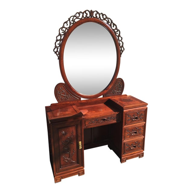 Carved Chinese Rosewood Vanity Dresser with Mirror For Sale