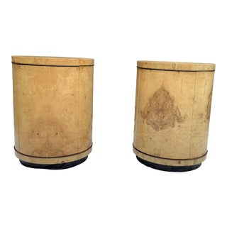 Henredon Burl Cylinder Tables, a Pair For Sale
