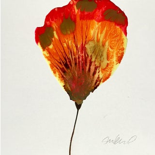 Red & Gold Poured Resin Botanical Art