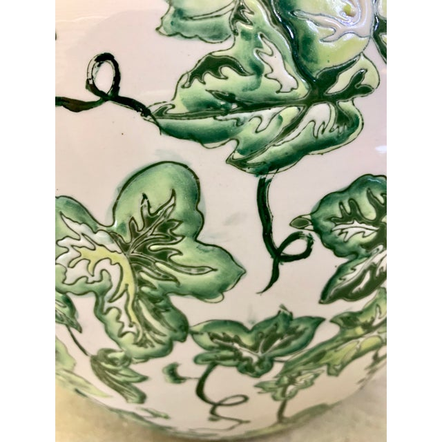 Asian Leaf Motif Jardiniere For Sale - Image 3 of 13