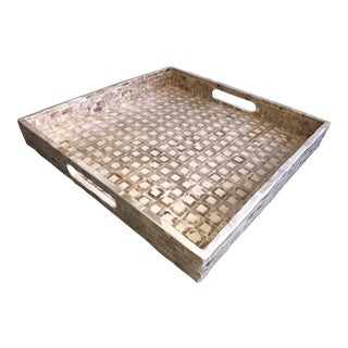 Tozai Home Medium Gold Mosaic Square Tray For Sale
