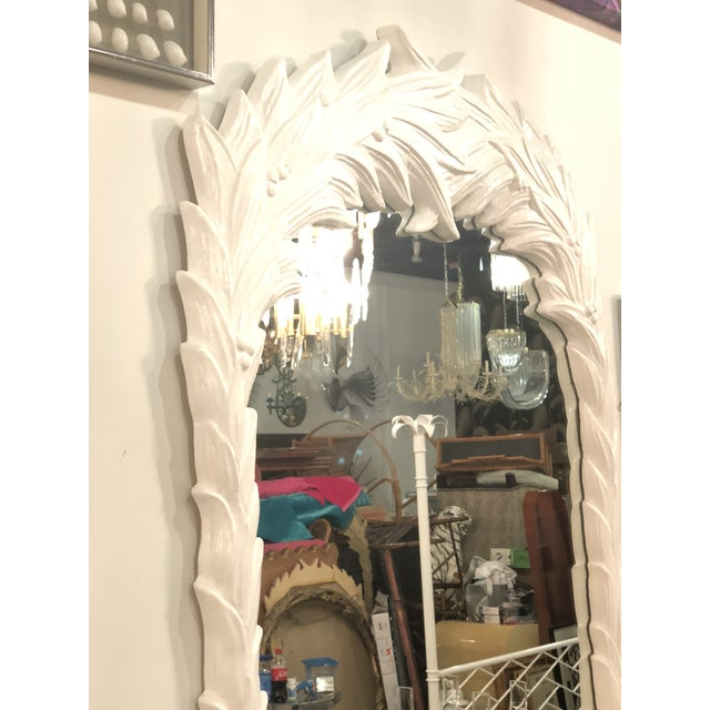 Serge Roche Vintage White Lacquered Palm Frond Wall Mirror For Sale - Image 4 of 11