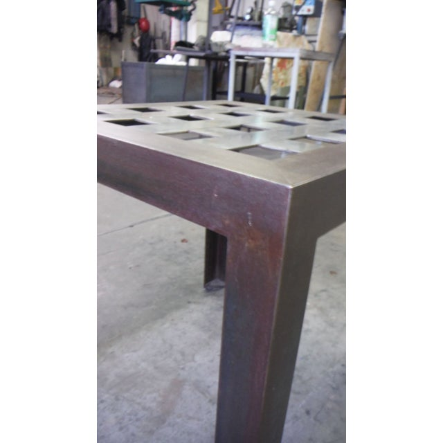 Stainless Steel Grid Side Table For Sale - Image 5 of 5