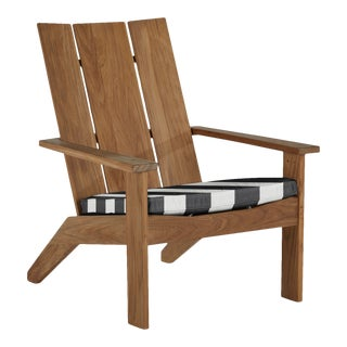 Summer Classics Ashland Teak Adirondack in Cabana Stripe Midnight For Sale
