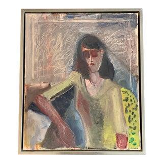 Original Mid-Century Modern Female Interior Portrait Painting For Sale