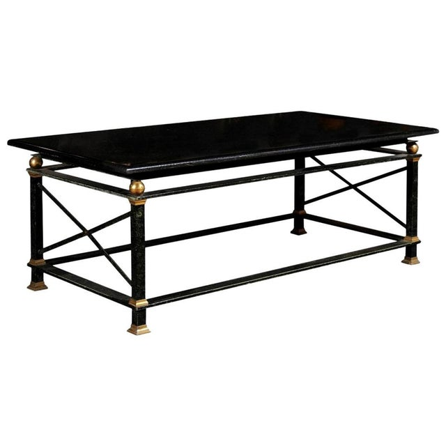 French Parisian Coffee Table with Black Marble Top, Iron Base and Brass Accents For Sale - Image 12 of 12