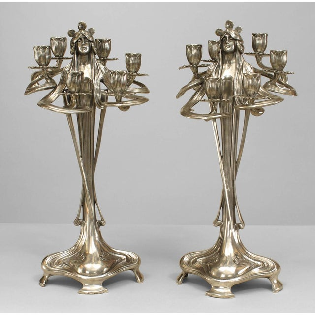 Art Nouveau Silvered Pewter Candelabra- A Pair For Sale - Image 11 of 11