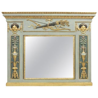 Period Early 19th Century Italian Empire Neoclassical Overmantel Mirror For Sale