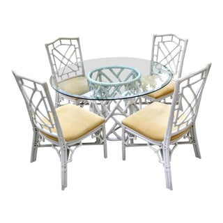 1970s Beach Regency White Rattan Fretwork Dining Set - 5 Piece Set For Sale