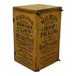 1800s Folk Art Hand Stenciled Advertising Cabinet/Trunk For Sale