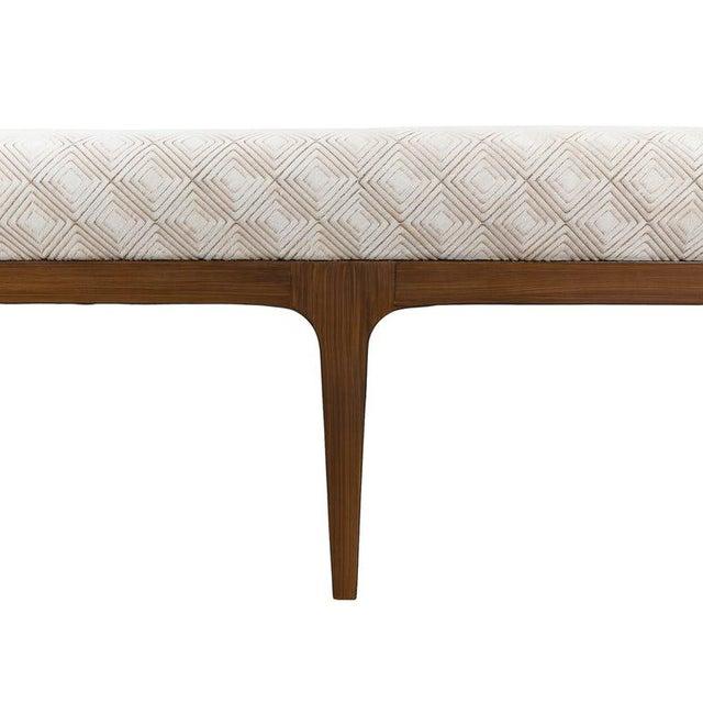Walnut bench w/ laser cut cowhide upholstered seat -Mid-century modern style bench -diamond laser cut pattern cowhide...