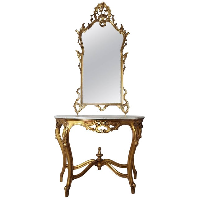 20th Century Italian Baroque Style Carved Gilded Wood Console Table With Mirror For Sale
