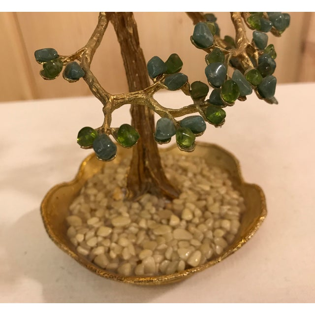 Green Mid-Century Modern Agate Bonsai Tree in Gold Dish For Sale - Image 8 of 10